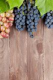 Bunch of grapes and vine on wooden table