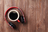 Headphones and coffee cup