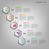 Info graphic with colorful hexagons template