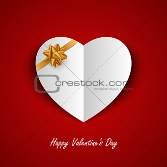 Valentine card with paper hearts and ribbon template