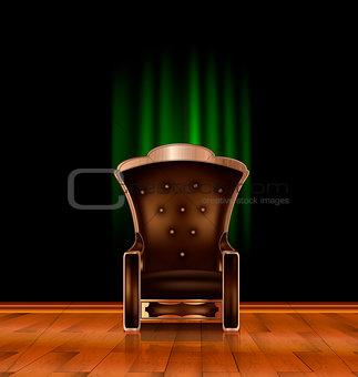 armchair in dark room
