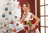 funny woman in christmas holiday