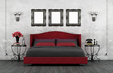 Retro red and black bedroom