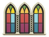 Mullioned gothic window with stone frame