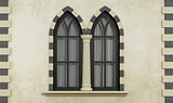 Gothic facade with windows