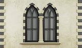 Gothic facade with windows
