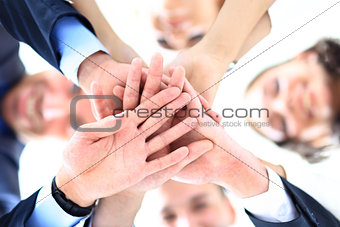 business people group joining hands and