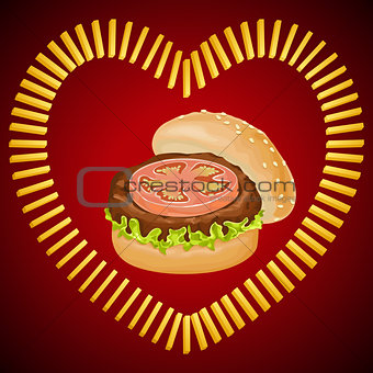 French fries shaped heart with burger in the middle