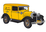 Vintage yellow delivery car