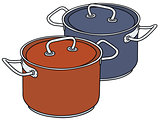 Color steel pots