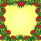 Pattern with a frame of summer flowers