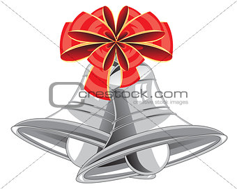 Bow and campanulas on white background