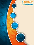 Abstract blue orange brochure with arrows