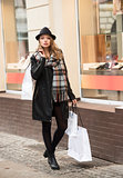 fashion girl with shopping bags