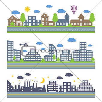 City Skylines vector icons set.