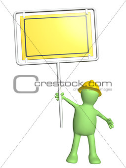 3d puppet-builder with emergency sign