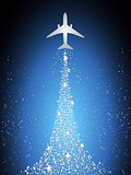 Festive silhouette aircraft fly over dark blue sky