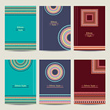 Set of geometric abstract colorful brochure templates. Stylish ethnic vector backgrounds