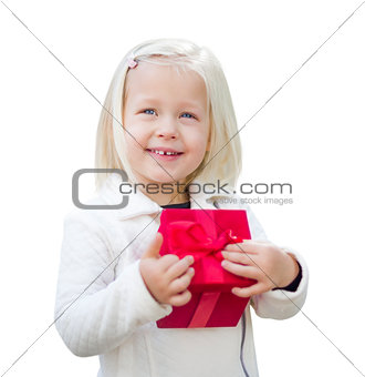 Baby Girl Holding Red Christmas Gift on White