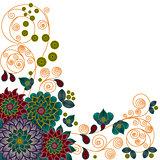 Pattern with beautiful stylized flowers