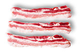 Three pieces of bacon on top view