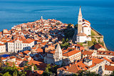 Sunlit Old Town of Piran in the Morning.