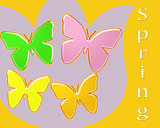 Spring abstract of brightly colored butterflies on a tulip background
