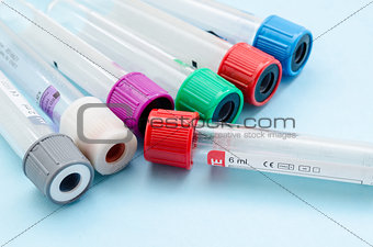 Blood sample test and empty tube blood for blood test screening.