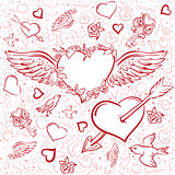 Red heart wings. Heart pierced by an arrow. Seamless background symbol Valentines Day