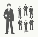 Businessman in suit. Different  poses