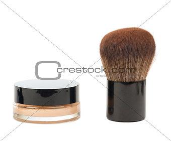 Cosmetic liquid foundation and brush
