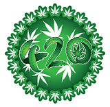 Green marijuana cannabis leaf 420 text vector illustration