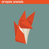 Vector origami isolated animal. Cute Fox