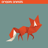 Vector origami isolated animal. Cute Fox