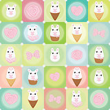 Vector flat creative background with bunny. rose and bow
