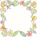 Vector watercolor flower frame. Hand draw floral illustration