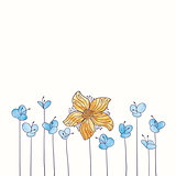 Vector watercolor flower border. Hand draw floral illustration