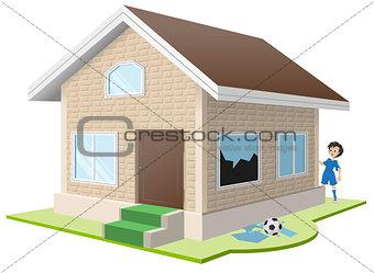 Boy broke window. Property insurance