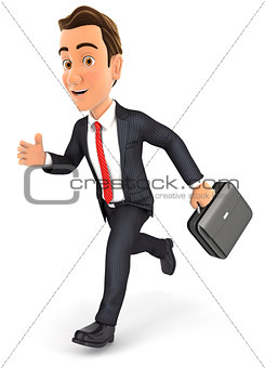 3d businessman running