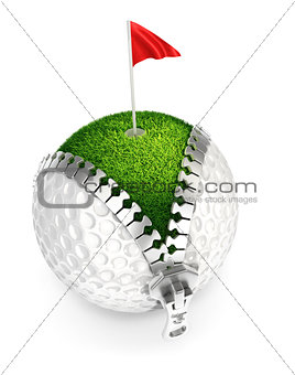 3d unzip golf ball concept