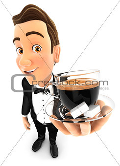 3d waiter holding a cup of coffee