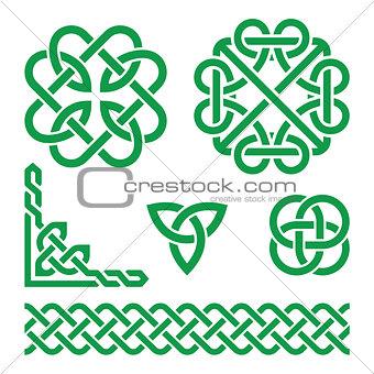 Celtic green Irish knots, braids and patterns