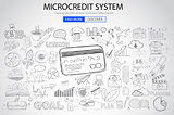 Microcredt Systtem concept with Doodle design style