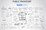 Public Transports concept wih Doodle design style