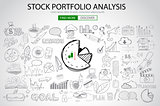 Stock Portfolio Analysis Concept with Doodle design style