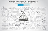 Water Transport Business Concept with Doodle design style