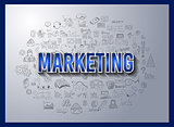Business Success and Marketing Strategy concept with Doodle design style