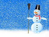 fabulous snowman and snowflakes falling on the ground