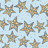 Vector seamless colorful stars pattern