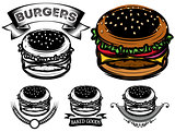 monochrome and color burger with design options for advertising fastfood